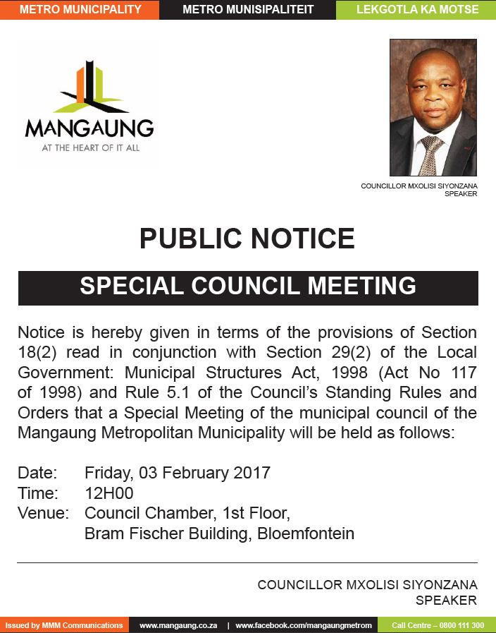 Council Agenda: 3 February 2017 (Special Meeting ...